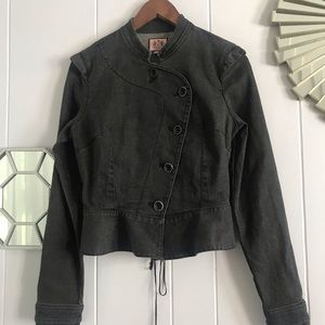 Juicy Couture Gray Jean Military Corset Jacket M